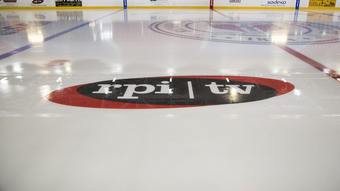 Installation of RPI TV's In-ice Logo at the HFH